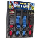 "1"" X 15' Ratchet Straps w/ Rubber Handle & 1"" x 6' Cam Buckle Straps w/ Vinyl S-Hooks"